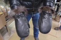 Рукавицы кожаные, внутри чернобурка